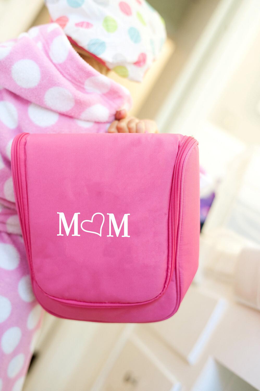 Mom Hot Pink Hanging Travel Case