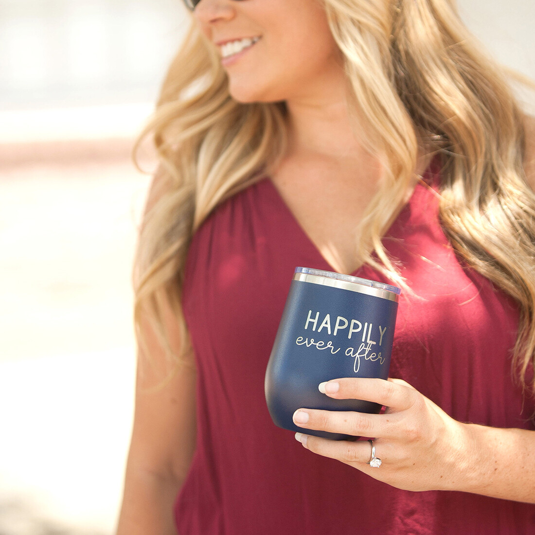 Navy Happily Ever After 12 oz Tumbler