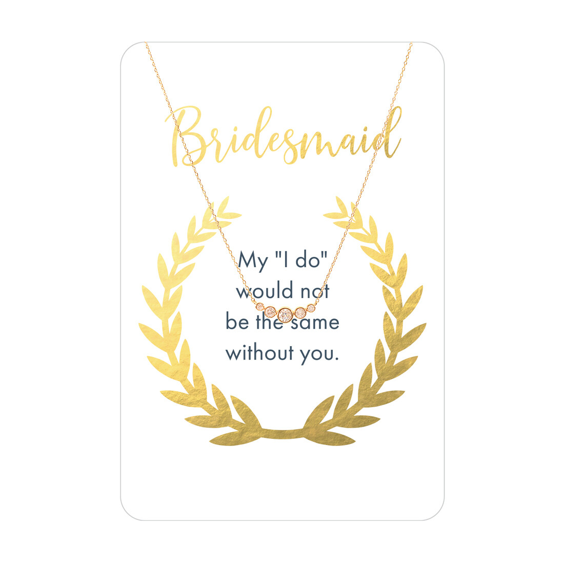 Gold Five Stone CZ Bridesmaid Necklace Card