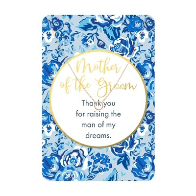 Gold Circle CZ Mother Of The Groom Necklace Card