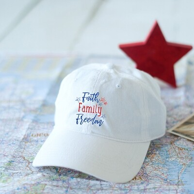 Faith Family Freedom White Cap