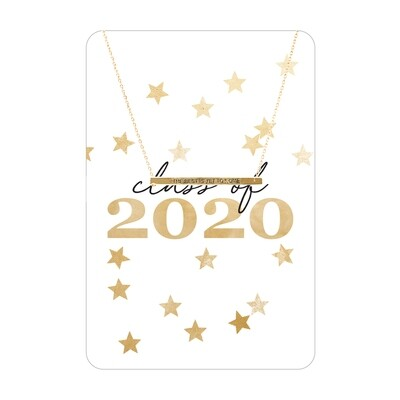 Gold Class Of 2020 Bar Necklace Card