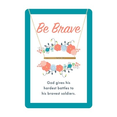 Gold Be Brave Bar Necklace Card