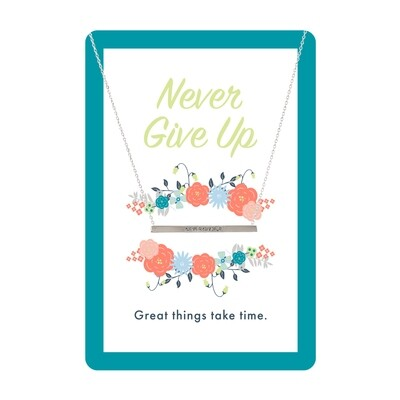Silver Never Give Up Bar Necklace Card