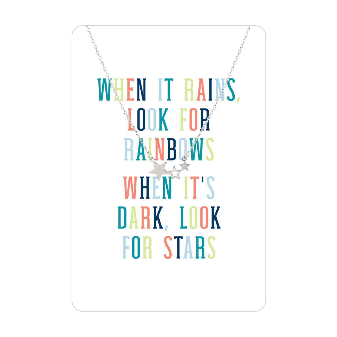 Silver When It Rains Look For Rainbows Star Necklace Card