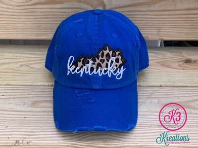 Kentucky State Leopard Applique Distressed Cap