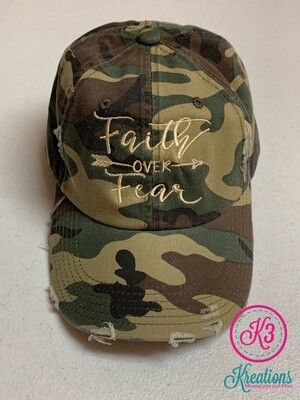Faith Over Fear Distressed Camo Hat