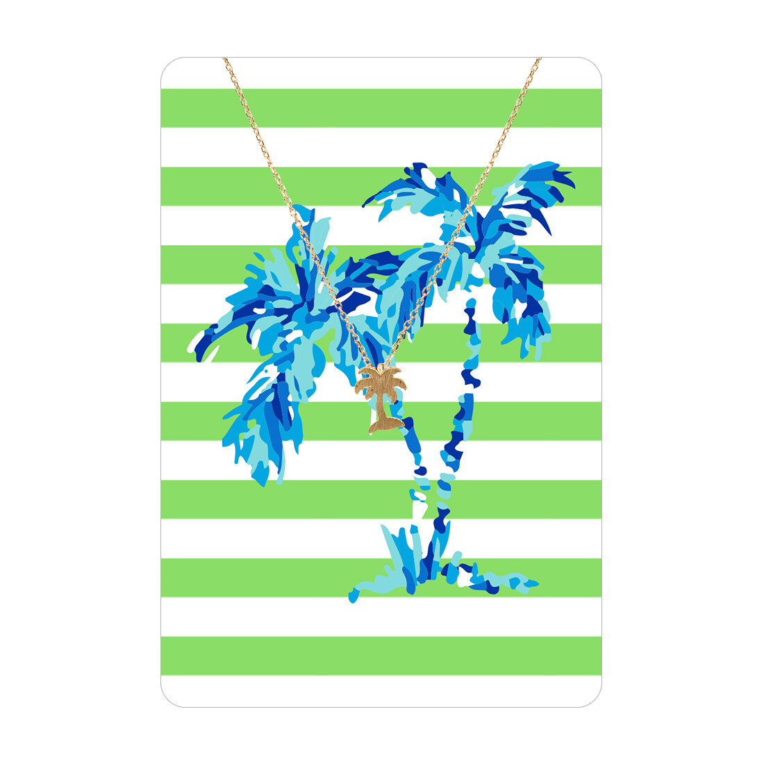 Gold Palm Tree Necklace Card