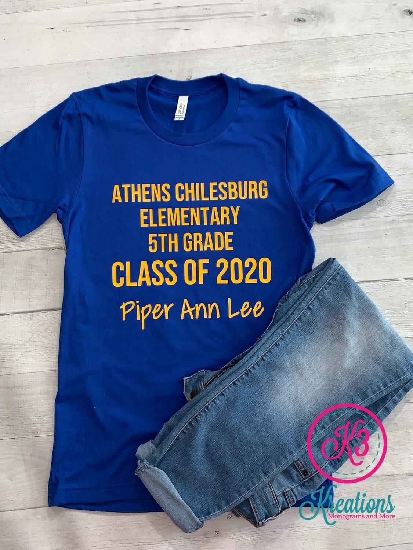 5th Grade Class of 2020 Short Sleeve Tee