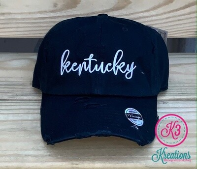 Kentucky Script Distressed Cap