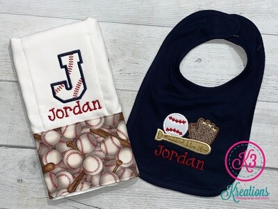 Baseball Bib & Burp Cloth