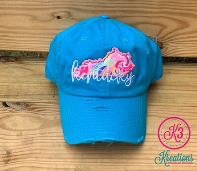 Kentucky Script Lilly Applique Distressed Cap