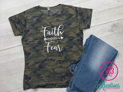 Adult Vintage Faith Over Fear Jersey Tee