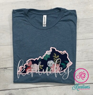 Kentucky State Blooms Denim Tri-Blend Short Sleeve Tee