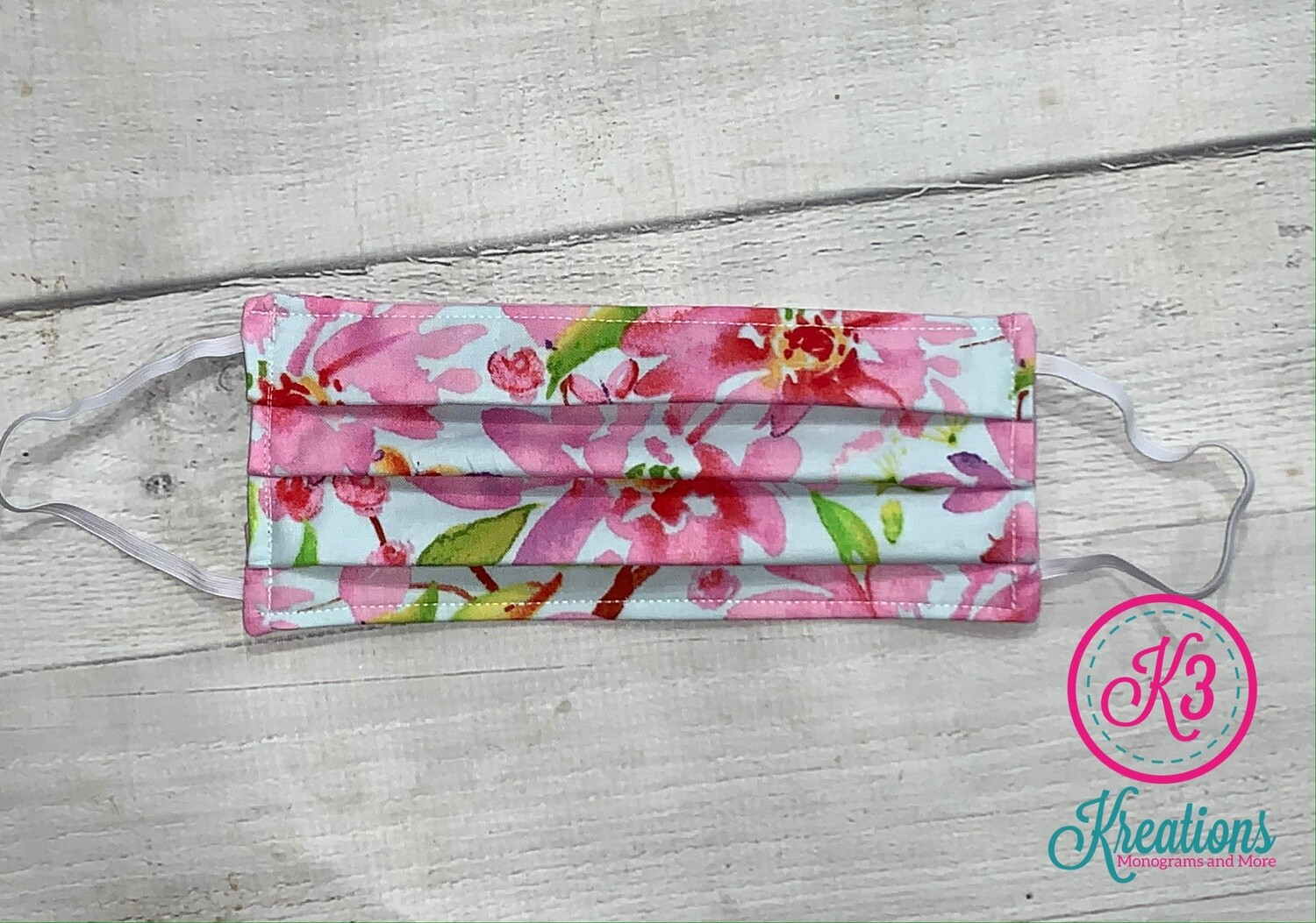 Pink Watercolor Floral Cotton Fabric Face Mask