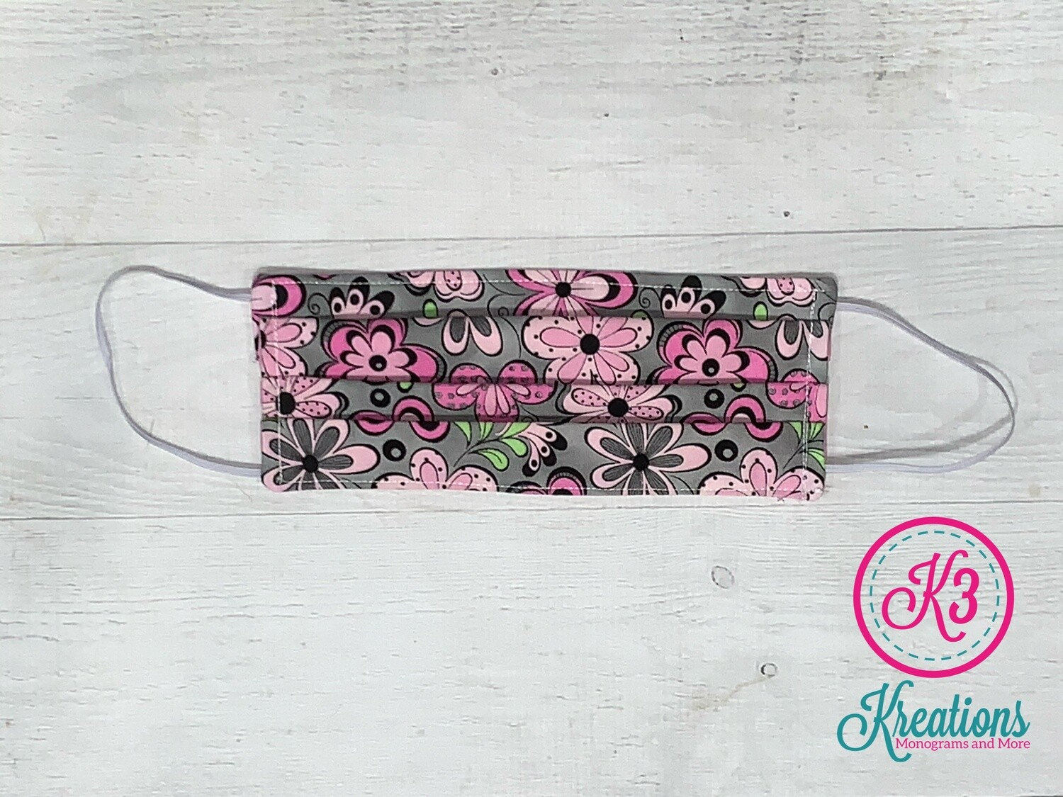 Grey Pink Floral Cotton Fabric Face Mask