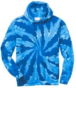 Adult Port & Company Royal Tie-Dye Hooded Sweatshirt - (LPCS)