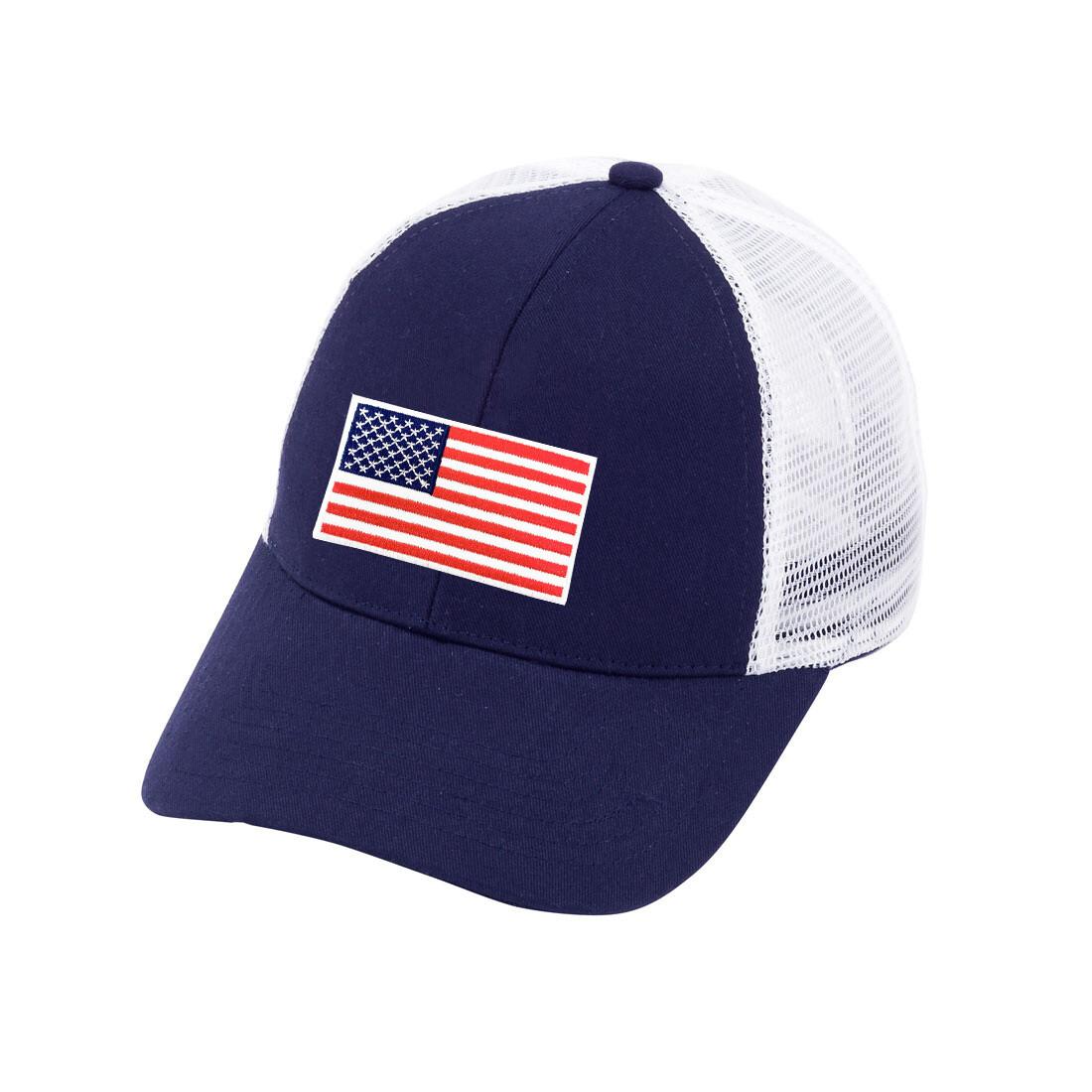 American Flag Navy Trucker Hat