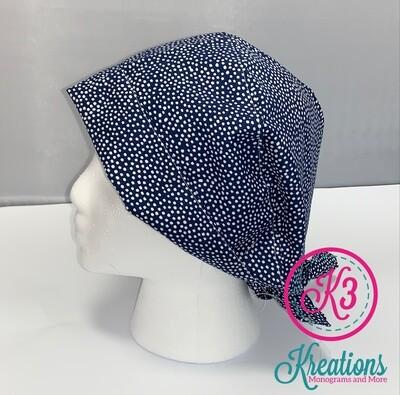 Navy White Dot Cotton Fabric Scrub Cap