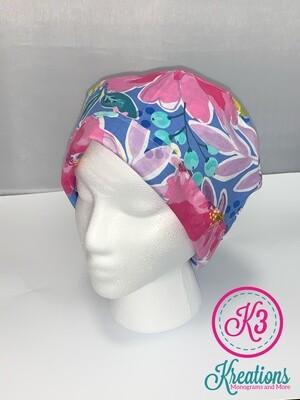 Colorful Floral Cotton Fabric Scrub Cap