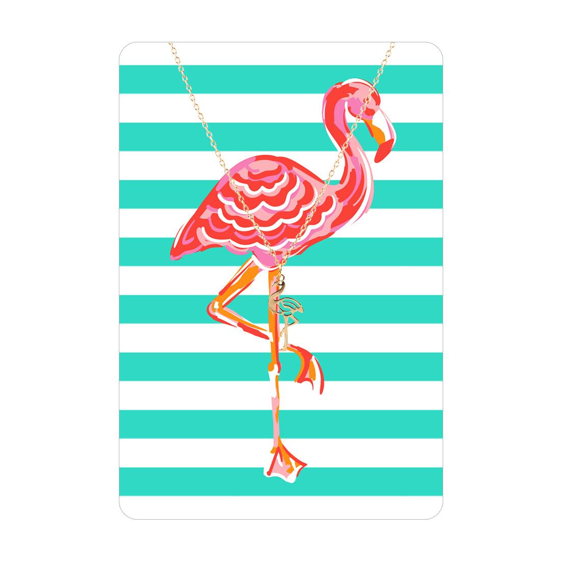 Gold Flamingo Necklace Card