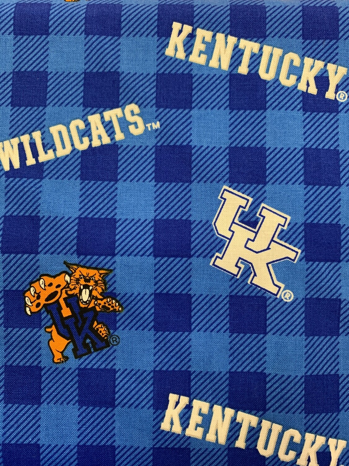UK Wildcats Blue Checked Cotton Fabric Face Mask