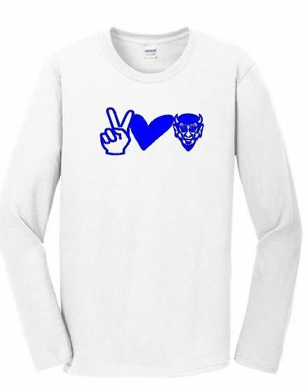 Peace Love Devils Long Sleeve T-shirt - White ADULT (HCGG)