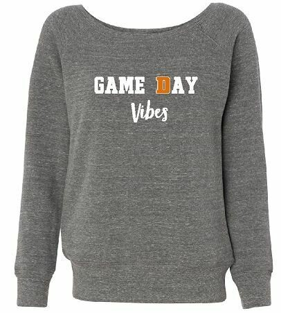 Game Day Vibes Wide Neck Sponge Fleece Pullover - LADIES (FDBS)
