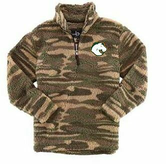 Unisex Camo Sherpa Fleece Quarter-Zip Pullover with choice of Douglass Logo (FDD)