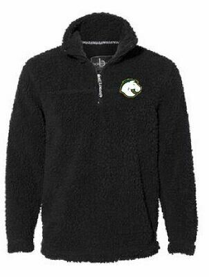 Unisex Black Sherpa Fleece Quarter-Zip Pullover with choice of Logo  YOUTH and ADULT (FDD)