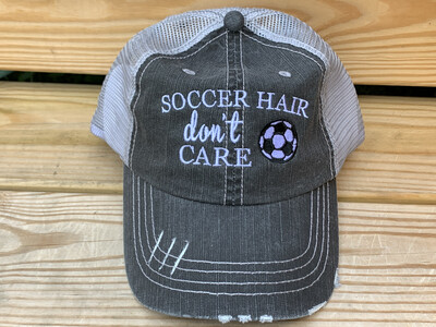 Soccer Hair Don't Care Distressed Trucker Hat  (FDBS)