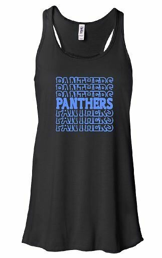 Stacked Panthers Bella + Canvas Black Flowy Tank