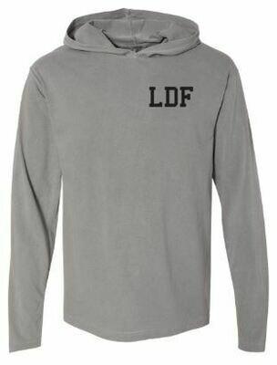 Adult Grey LDF Heavyweight Hooded Long Sleeve Tee