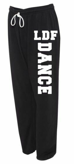 Adult LDF Dance Sponge Fleece Long Scrunch Black and White Sweatpants