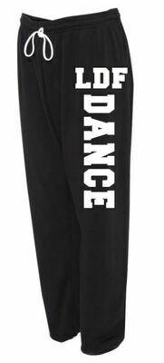 Adult LDF Dance Sponge Fleece Long Scrunch Black and White Sweatpants