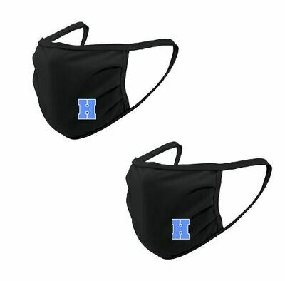 2-Pack Hayes Black Face Mask with Blue H