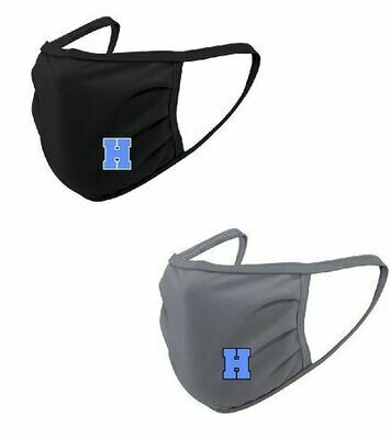 2-Pack Hayes Black & Grey Face Mask with Blue H
