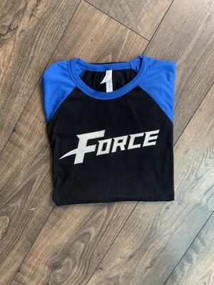 Adult Force Black/Royal Baseball Bella + Canvas T-Shirt