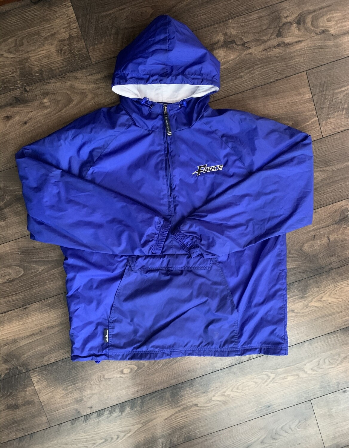 Unisex Adult Charles River 1/2 Zip Lined Royal Rain Pullover with Embroidered Force