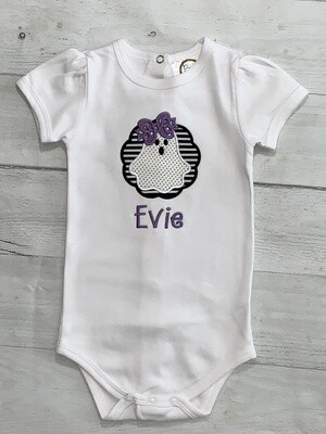 Baby Girl Personalized Embroidered Halloween Ghost Short Puff Sleeve Onesie