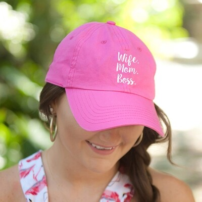 Wife.Mom.Boss Hot Pink Hat