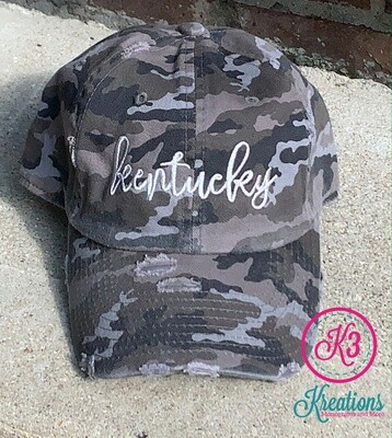 Black Camo Kentucky Script Distressed Cap