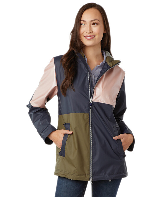 Ladies Charles River New Englander Color Blocked Rain Jacket