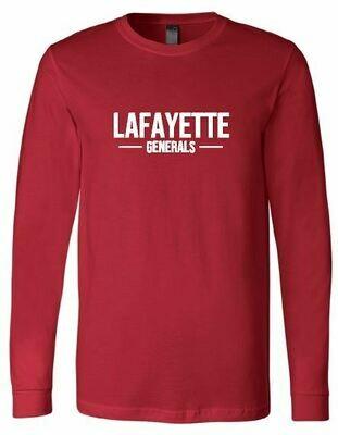 Lafayette Generals Red Bella + Canvas Long Sleeve Tee