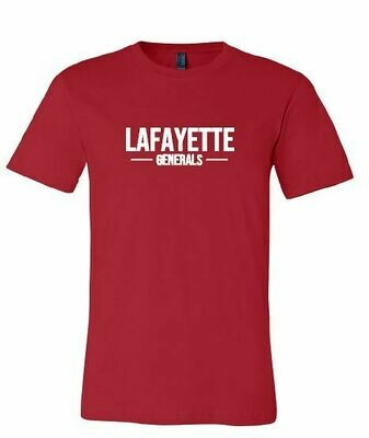 Lafayette Generals Red Bella + Canvas Short Sleeve Tee