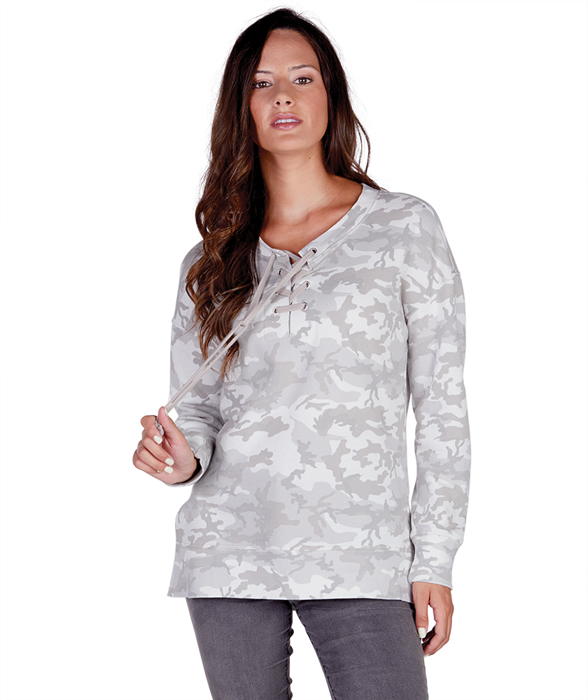Ladies Derby Lace-Up Camo Print Tunic