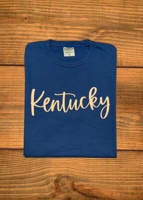 Neon Blue Kentucky State Script Short Sleeve Tee