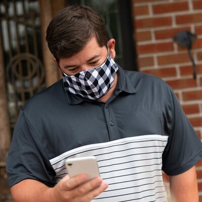 Black Buffalo Check Adjustable Adult Face Mask