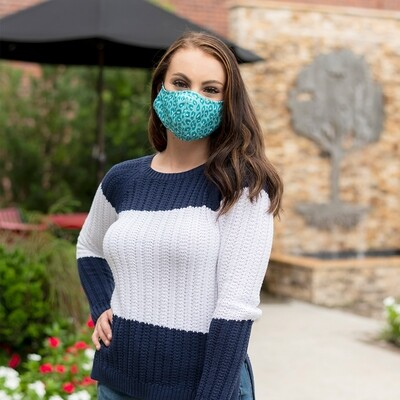 Teal Leopard Adjustable Adult Face Mask