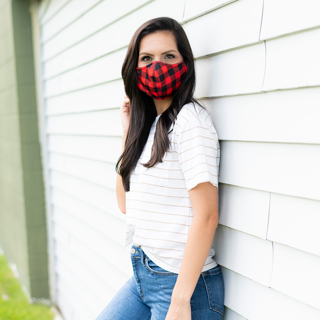 Red Buffalo Check Adjustable Adult Face Mask